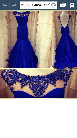 dress blue dress elegant prom dress colorful royal blue dress open back dresses