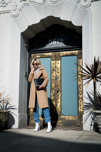 late afternoon blogger coat blouse jeans shoes sunglasses bag jewels winter outfits beige coat white boots