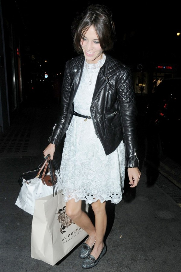 alexa chung lace white dress dress
