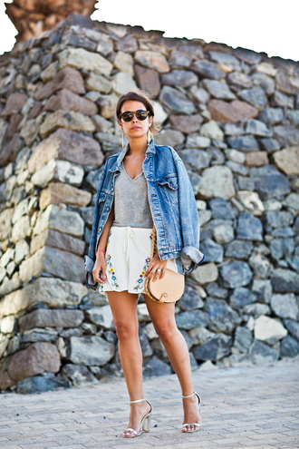 shorts embroidered shorts embroidered white shorts top grey top jacket denim jacket blue jacket sunglasses bag chloe chloe bag collage vintage blogger
