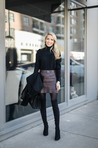 krystal schlegel blogger bag sweater top jewels winter outfits boots over the knee boots mini skirt