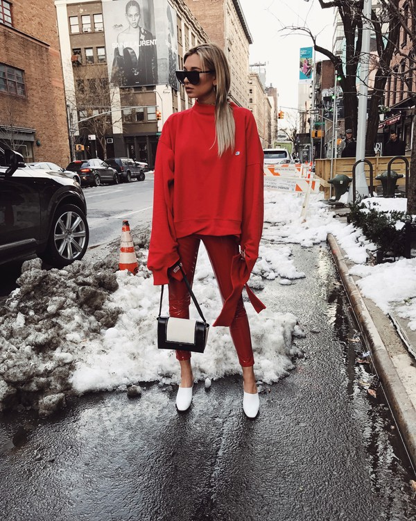 we wore what blogger pants sweater shoes bag red sweater red pants winter outfits