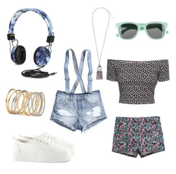 headphones white black sunglasses tank top top mono shoes superga collar necklace shorts floral
