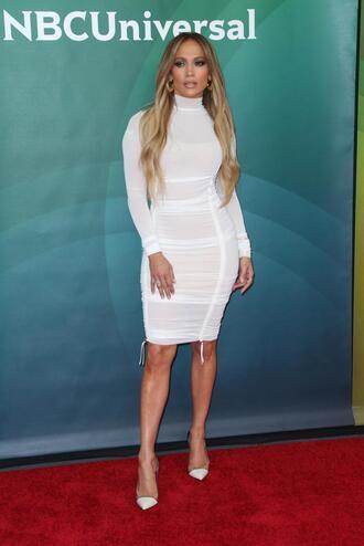 shoes pumps white white dress bodycon dress jennifer lopez turtleneck turtleneck dress