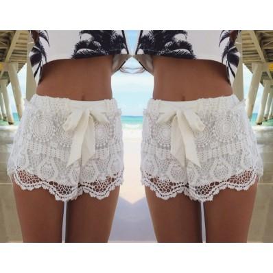 White fashion lace crochet shorts