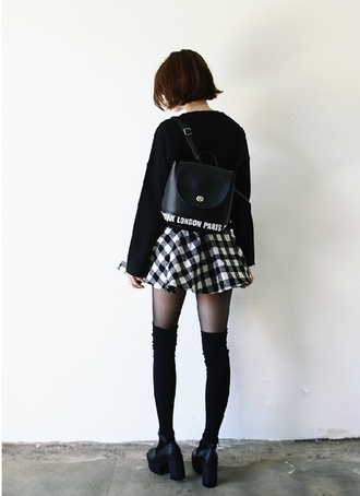 skirt black white bag platform shoes shoes kawaii grunge kawaii grunge socks blouse leather backpack knee high socks