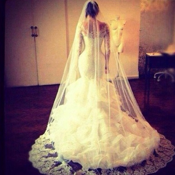 Lace Wedding Dress With Long Veil Dress Lace Back Long Veil