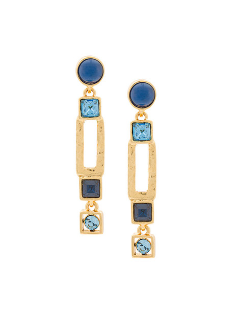 women geometric earrings blue jewels