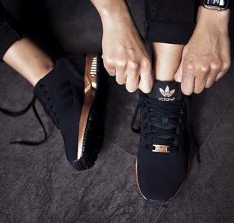 shoes adidas black sneakers gold black and gold cool instagram instagram model model insta model insta girl insta girls