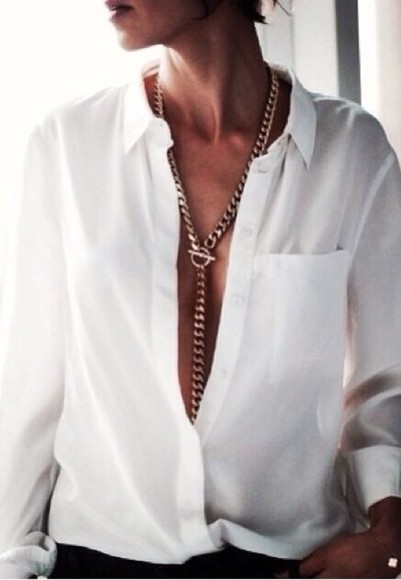 jewels white blouse thick gold chain chain thick gold chain long necklace
