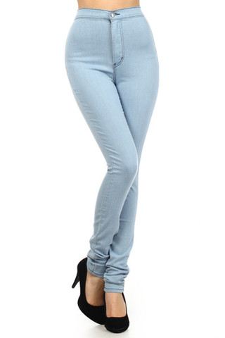 High Waisted Jeans Light Blue | Bbg Clothing