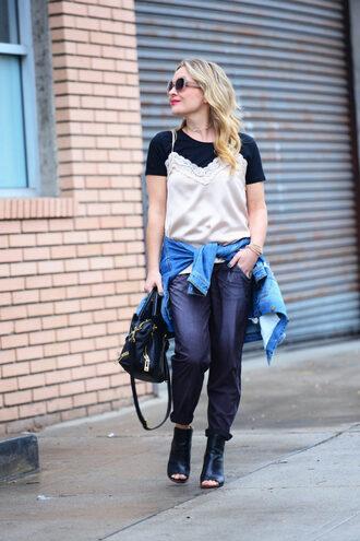 thehuntercollector blogger t-shirt tank top jacket shoes bag denim jacket handbag peep toe boots ankle boots