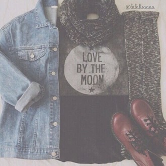 shirt moon grey white love by the moon cute sweet love unique girly style hipster fashion