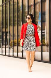 cute & little,blogger,jacket,dress,shirt,shoes,belt,sunglasses,jewels,bag,blazer,red jacket,sandals,high heel sandals,fall outfits