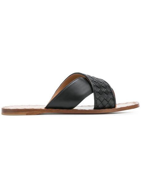 Bottega Veneta women sandals leather black shoes
