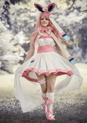 dress sylveon white dress pastel dress pink dress cosplay cape pokemon nintendo