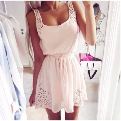 White bottoming slim sleeveless dress