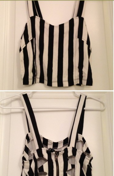 cut-out top brallete top black and white stripes striped shirt