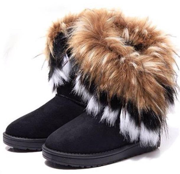 boots, furry boots, ugg boots, black boots, fur, shoes, furry fur boots cold booties cute, winter boots, fur boots, faux fur, ankle boots - Wheretoget