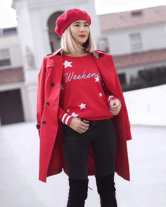 sweater tumblr red sweater stars coat red coat beret denim jeans black jeans