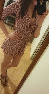 jumpsuit,romper,brown dress,style,long sleeves,abstract print,summer dress