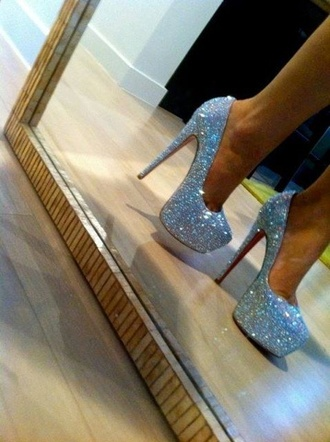 shoes louboutin sparkle red glitter heels high heels cute high heels silver shoes prom