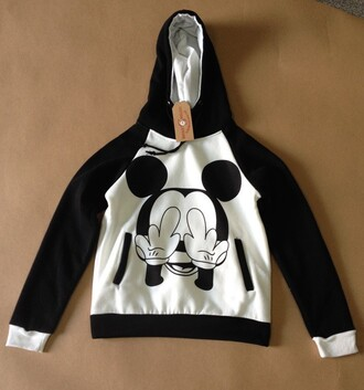 women sweatshirt pullover hooded coat black and white mickey mouse print casual outerwear sportswear loose long sleeves new york city hoodie coat