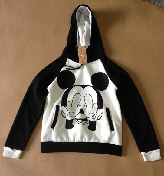 women sweatshirt pullover hooded coat black and white micky mouse print casual outwear sportswear loose long sleeves