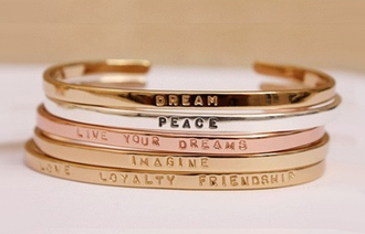 jewels bangle bracelets jewelry accessories bling quote on it love dream peace friendship imagine live your dreams love loyalty friendship new years resolution stacked bracelets gold bracelet