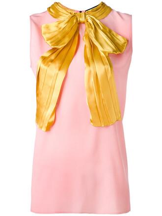 blouse bow sleeveless women silk purple pink top