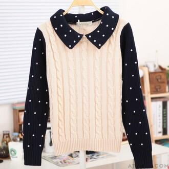 cardigan sweater long sleeves pretty polka dots braid twists