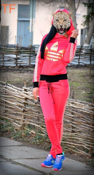 jumpsuit adidas red pink neon tracksuit outfit workout sportswear gold band t-shirt shirt pants leggings swag style