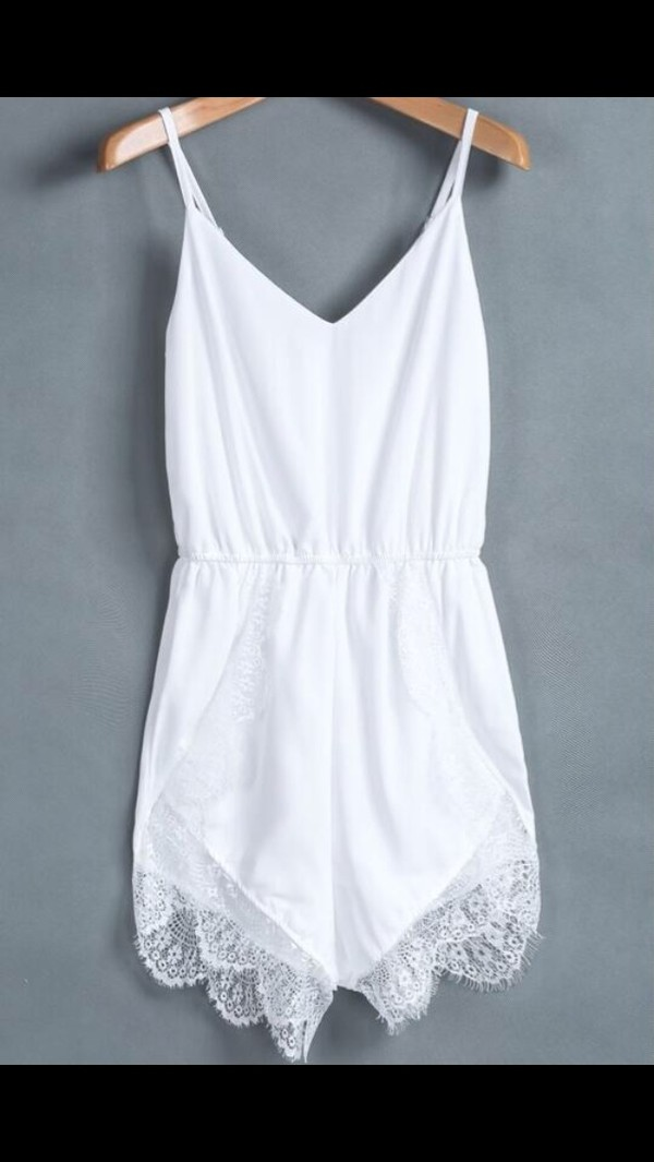 tank top white romper lace summer shorts short party dresses short prom dress white dress sheinside lace dress lace up summer dress summer outfits summer top ebonylace.storenvy ebonylace.storenvy sparkle blouse dress romper fashion style girly jumpsuit tumblr underwear