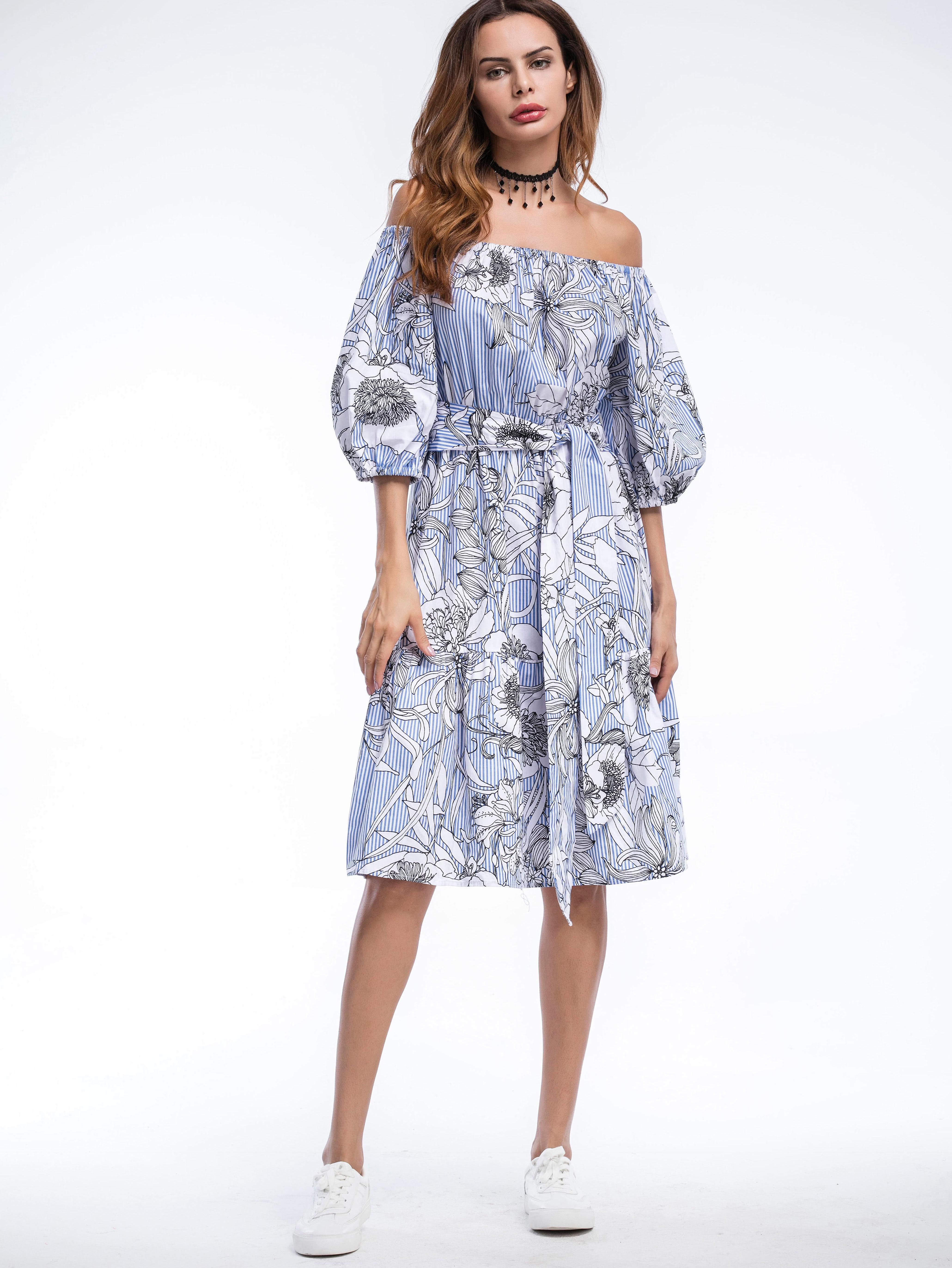 adb15919a0 Robe imprimée fleuri avec un lacet manche de bulles-French SheIn ...