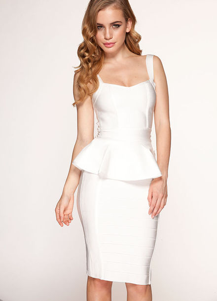 Dress White Peplum Bandage Bodycon Herve Leger Party Sexy