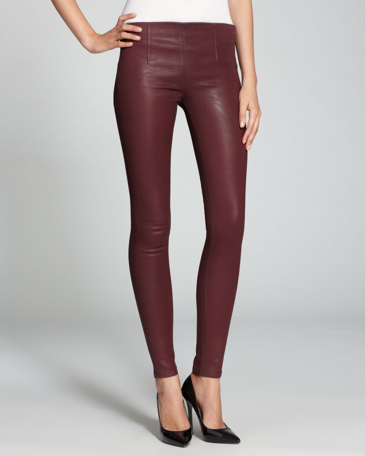 SOLD design lab Jeans - Burgundy Coated Side Zip Skinny | Bloomingdale's