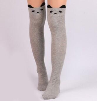 socks panda cute grey kawaii teenagers fashion rosegal