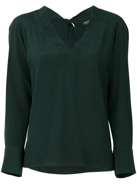 Twin-Set blouse women classic silk green top