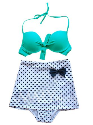 High Waisted Vintage Halterneck Bow Polka Dot Print Bikini Swimsuit For Women (AS THE PICTURE,XL) | Sammydress.com Mobile