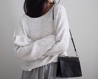 sweater white skirt grey bag