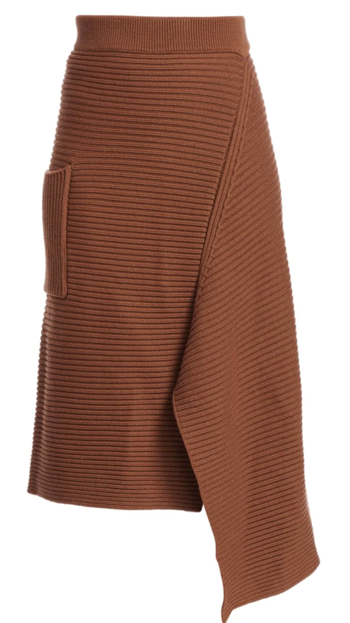 Tibi Merino Wool Ribbed Origami Skirt