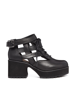 Shellys London | Shellys London Milligan Black Cut Out Lace Up Boots at ASOS