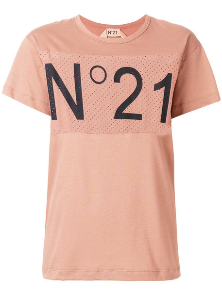 No21 t-shirt shirt t-shirt women cotton silk purple pink top