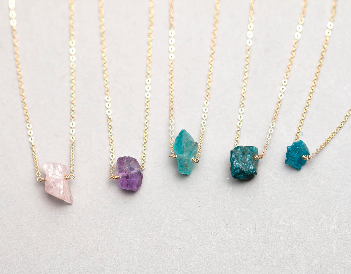 Raw crystal necklace // gold fill or sterling chain // minimal crystal necklace // rough cut gemstone necklace ln606