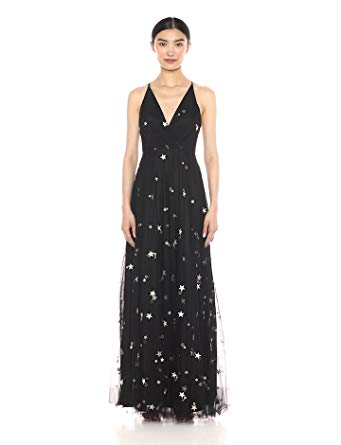 Jenny Yoo Women's Chelsea Starry Night Embroidered Metallic Long Tulle Gown at Amazon Women's Clothing store: