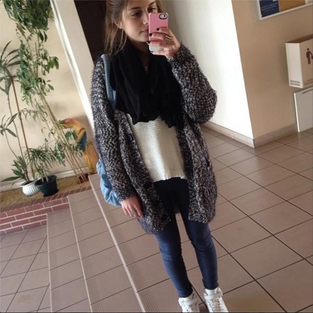 sweater cardigan grey girl fashion instagram