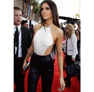 blouse white chiffon cream pearl kendall jenner kardashians strappy halter neck tight cut midriff fashion red carpet model icon celebrity top shirt tie up thanks xox