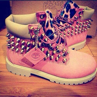 shoes rivets pink love shoes style