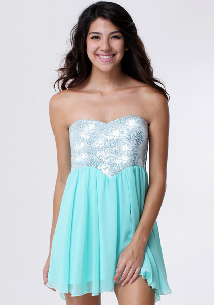 Sequins Bodice Dress - Mint