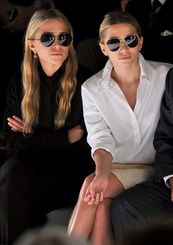 sunglasses aviator sunglasses olsen sisters olsen ashley olsen mary kate olsen skirt le fashion image blogger blouse jewels shirt
